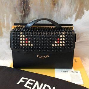 Fendi Monster Studded Black Saffiano Demi Jour Bag